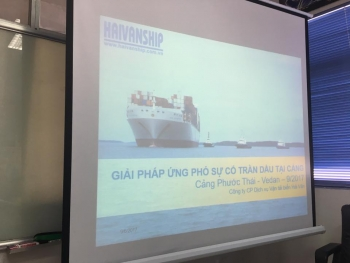 Oil spill response in-door training at Phuoc Thai Port, Dong Nai Province.